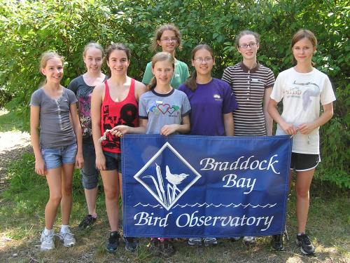 Claire, Bethany, Brenna, Cici, Anna, Bella, Raelena and Sonya at the end of their first day of Banding Camp!Photo by Andrea Patterson