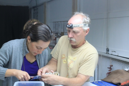 Dave Mathiason Showing Mandy How To Band the First Saw-whetPhoto by Ryan Kayhart