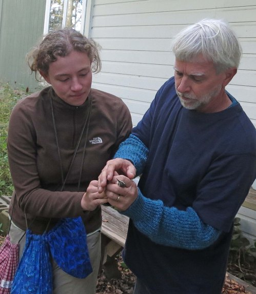Jenna, Golden-crowned Kinglet and Dad! Photo by Peggy Keller
